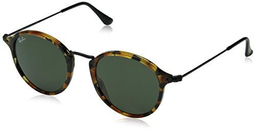 Ray-Ban Unisex Sonnenbrille Rb 2447, Mehrfarbig (Gestell: braun/schwarz(Havana,Tortoise) Glas: grün 1157), Small (Herstellergröße: 49)