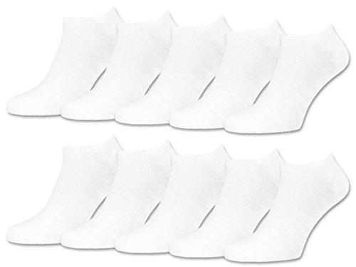 sockenkauf24 10 | 20 | 30 Paar Sneaker Socken Damen & Herren Schwarz & Weiß Baumwolle (39-42, 10 Paar | Weiß) - Weiße Hosen-socken
