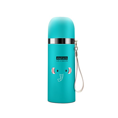 JINSANSHUN Isolierflasche Thermosflasche Baby Kinder Trinkflasche Thermoskanne Wasserflasche Sportflasche Doppelwandig Edelstahl Tier Vakuumflasche 350ml Cartoon Thermoflasche mit Lanyard - blau