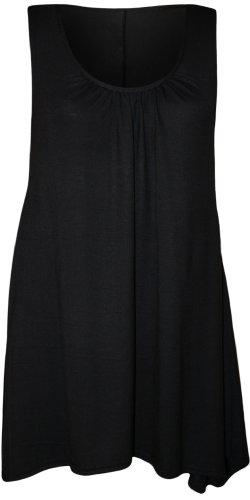 WearAll - Grande taille hanky hem débardeur top long sans manches - Hauts - Femmes - Tailles 44 à 50 Noir