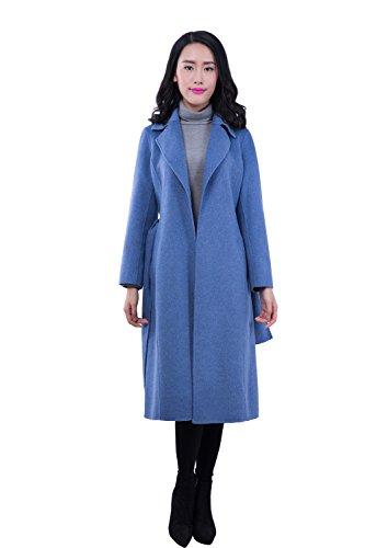 Generic Damen Trenchcoat Mantel, Einfarbig Gr. 40, Blau - Blau