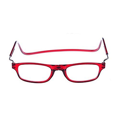 Forepin Magnéticas Plegables Gafas de Lectura Rojo Dioptria +1.0(45-49 años) reg; Presbicia Vista para Hombre y Mujer Regulables Imantadas