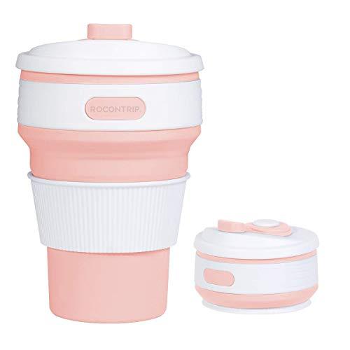 (ROCONTRIP Faltbare Tasse, Silikon Becher Kaffee Camping Tasse Reise Geschenk Becher 350ml 100% Lebensmittelqualität Silikon BPA-frei geeignet für Outdoor-Aktivitäten Camping Wandern)