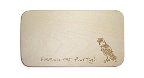 Parrocchetto Tavoletta per la colazione « ninfe » incl. pers. Incisione-cartello-Tagliere da colazione uccelli PAPPAGALLINO