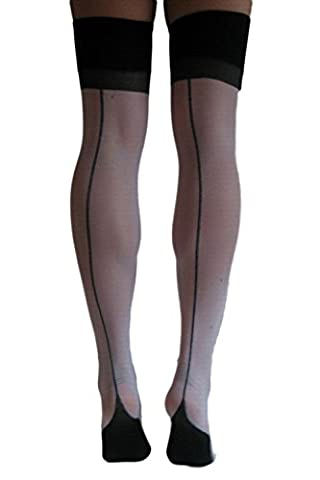 Pinkyee Women's Black Cuban Heel Thigh High Stocking Black One Size
