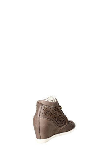 Sneakers Keys in pelle traforata taupe con zeppa Taupe