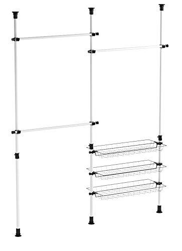 SoBuy FRG34 Regalsystem mit 3 Körben und 3 Kleiderstangen Teleskop Garderoben System Verstellbares Ordnungssystem