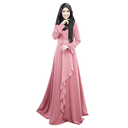 Amphia - Muslim Loser Normallack-Kleidungs-Kleid der Frauen Abaya islamischer arabischer Kaftan - Muslimische Lange Röcke, HUI-Nationalität, nationaler Stil, einfarbig, Blütenblätter, großes Kleid - Die Traditionellen Raglan-t-shirt