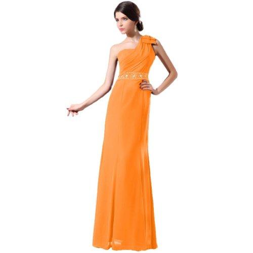 Lemandy robe de soirée mousseline longueur ras du sol épaule asymétrique Orange