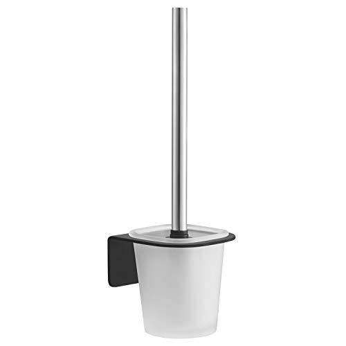 WEISSENSTEIN Toilettenbürstenhalter Set zur Wandmontage ohne bohren - WC-Ganitur Set mit Bürste, Bürstenhalter aus Glas, schwarzer Edelstahl Halterung zum kleben -