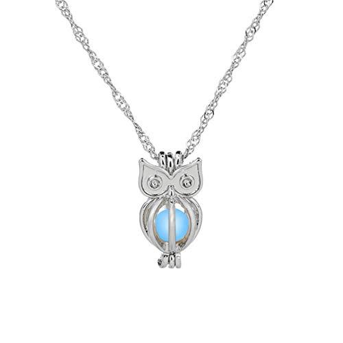 MOONRING Hohl Eule Anhänger Halskette Kreative Glänzende Halskette Tier Halskette Nette Halskette, 1#