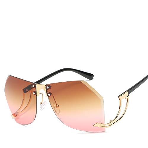 Rosa Vintage Tee (MJDABAOFA Sonnenbrillen Randlose Sonnenbrille Für Frauen Vintage Tee Rosa Sonnenbrille Weiblichen Sonnenbrille Brille Aus Metall Für Frauen)