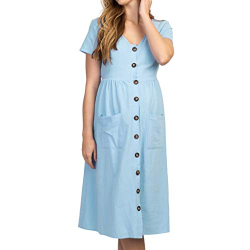 Sommerkleid Damen Knielang UFODB Schwangere Frauen UmstandskleidMode Pocket Button Kurzarm Sommerkleider Blusenkleid Sommerkleidung Strandkleider Schwangerschaftskleider