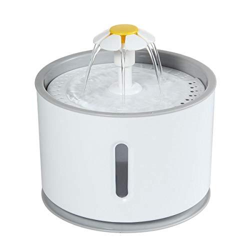 AOLVO Fontaine à Eau pour Chat et Chien Fleur avec Filtre et LED Lumineuse, 6pcs 2,4L Fontaine de Filtre Silencieuse Pompe à Eau Distributeur de l'eau Recyclable pour Animaux