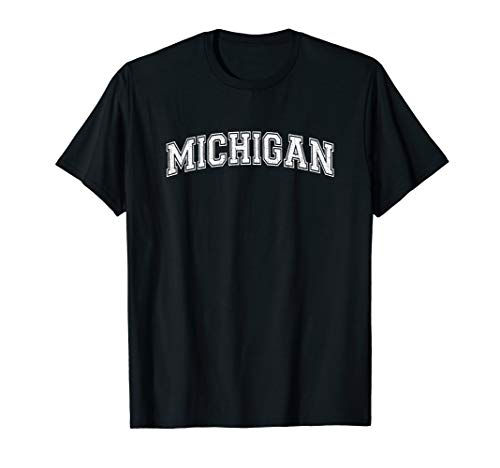 Vintage University-look Michigan Distressed College Design T-Shirt -