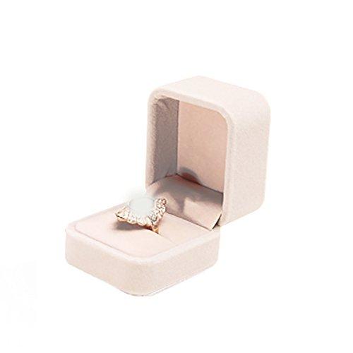 Milopon Ring Box Ringkästchen Geschenkbox Samt Box für Hochzeit, Valentinstag Ring Ohrring Geschenk Storage Box Etui (Beige) (Ohrring-etui)