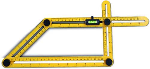 Templater Zollstock Winkelfunktion mit Wasserwaage | Schmiege mit Winkelmesser | Verstellbare Winkel | Ideal für Laminatschneider & Winkelschleifer