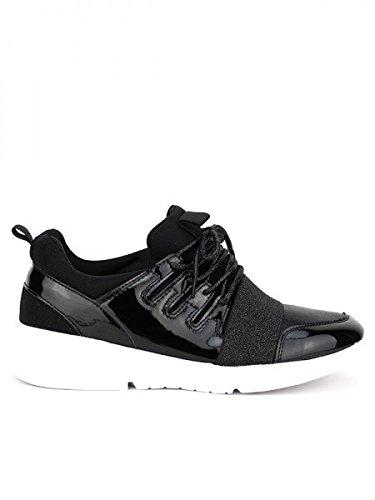 Cendriyon, Basket Color Noire STARTY MODE Chaussures Femme Noir