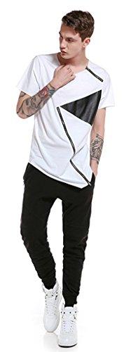 Whatlees Herren Hip Hop Urban Basic Design Lang geschnittenes T-Shirt aus weiches Jersey B565-White