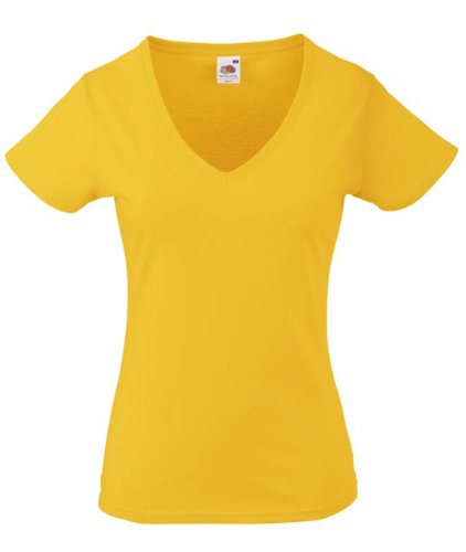Fruits of the Loom T-shirt col V pour femme Jaune - sunflower