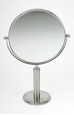 Doppelseitiger Stellspiegel mit 5-facher Vergrößerung, drehbar, schwenkbar, gebürsteter Edelstahl. von Kosmetex bei Spiegel Online Shop
