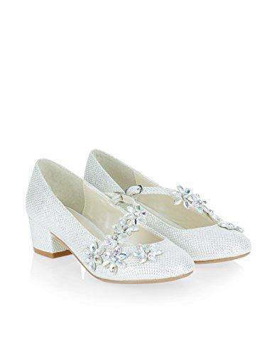 Monsoon Children Chaussures de Charleston joliment ornées de brides à fleurs - Fille Ivoire