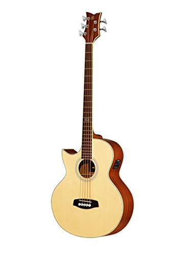 Ortega Guitars D1-5LE Akustikbass 5-Saiter elektrifiziert Linkshänder natur hochglänzendes Finish mit hochwertigem Gigbag, Ledergurt und Straplocks