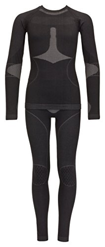 icefeld®: Sport-/ Ski-Thermo-Unterwäsche-Set für Damen seamless (nahtfrei) in schwarz/grau S