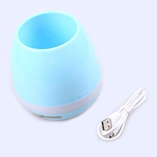 Bluetooth Maceta Altavoz con hoja Touch Piano Tunes y Música Tiempo Real Azul