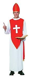 Bristol Novelty- Bishop Costume (XL) Disfraz, Color blanco, rojo. (AC455X)
