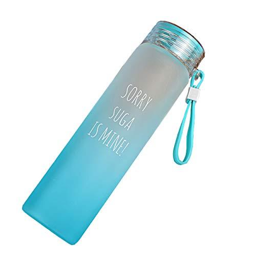 JOTENYO BTS Bangtan Boys Trinkflasche aus Glas für Kaffee, Tee und Sportgetränke Mehrfarbige Trinkflasche BTS Trinkflaschen-BL-SUGA