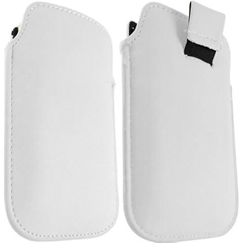 ONX3 Blackberry 9100 de la perla del cuero blanco Tire de la lengüeta de protección Funda + LCD Protector de pantalla