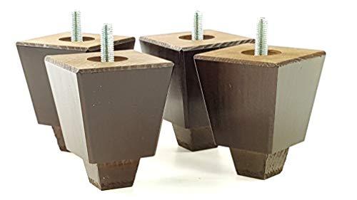4x Massivholz Möbel Beine Ersatz Füße für Sofas, Stühle, Sofas, Hockern-M8(8mm)-tsp2013, braun im antik-finish, M8(8mm) - Mahagoni-holz-finish Couchtisch