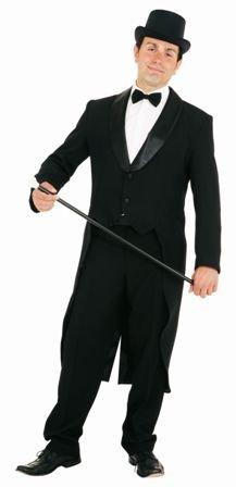 Fasching Herren Frack schwarz mit Satinkragen Gr. 60 Herren Frack
