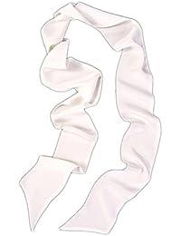 Prettystern - breit 10 cm Skinny 200cm Seidenschal 2-lagig Seide uni-Farbe Krawattenschal - Farbauswahl