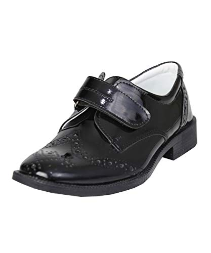 Flamingo Kinder Jungen Brouge Schuhe mit Klettverschluss, Kommunion, Hochzeit UK Jugend 12, EU 31