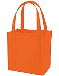 (Set Of 25) Heavy Duty Grocery Shopping Tote Bag W/Strong Reinforced Handles (ORANGE)