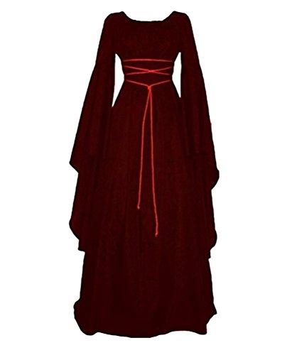 Damen Kleid Maxikleid Retro Boho Kleid Rundhalskleider Halloween Kostüm Langarm Kleid Renaissance Gotisch Kleider Burgunderrot M (Historische Kostüme)