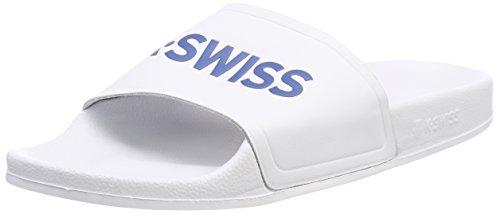 K-Swiss Unisex-Erwachsene K-Slide Badelatschen, Weiß (White/Classic Blue 117), 47 EU