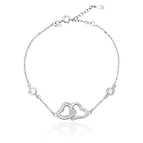 Sofia milani 30018 - braccialetto da donna con cuori intrecciati in argento 925