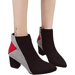 TianWlio Stiefel Frauen Herbst Winter Schuhe Stiefeletten Boots Winter Hausschuhe Flache Indoor Weichen Boden Schuhe Mädchen Haus Schlafzimmer Slipper rot 39