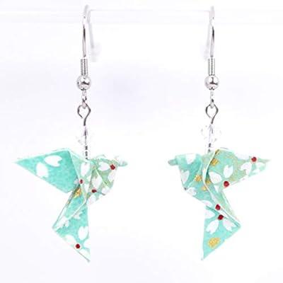 Boucles d'oreilles colombes origami verticales vert d'eau avec des petites fleurs blanches - crochets inox