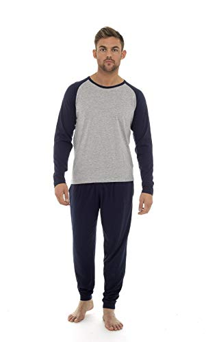 Mann Pyjamas aus Weich Baumwolle Winter Pyjamas Lange Ärmel Jogginghose (L, Marine & grauer Mergel)