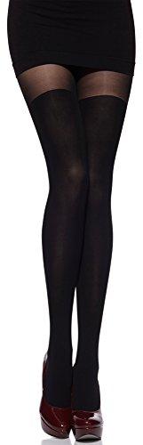Merry Style Damen Strumpfhose mit Overknees Muster 80 DEN MSSSR01 (Schwarz, 3 (36-40))