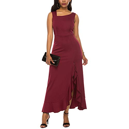 Lover-Beauty Damen ärmelloses Maxikleid schräge Schulter unregelmäßige Rüschen hohe Taille schlank Cocktail Abendkleid -