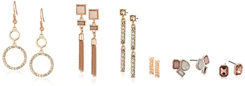 GUESS Womens Spring Whites 6 On Earrings Set With Stones, Rose Gold, One Size