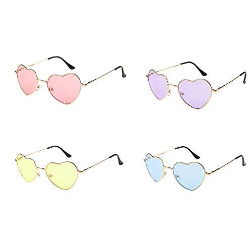 WooCo Herz Sonnenbrillen für Herren und Damen, Liebhaber Unisex Stilvolle Sonnenbrillen, Heißer Verkauf Persönlichkeit Cool Cute Eyewear Strahlenschutzbrillen Metallrahmen (4 Sonnenbrillen, One size)