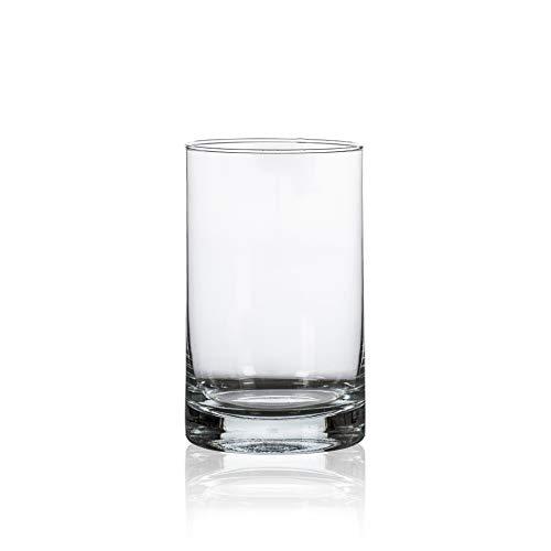 CRISTALICA Glasvase Dekovase Zylindervase rund Transparent Glas Höhe 15cm
