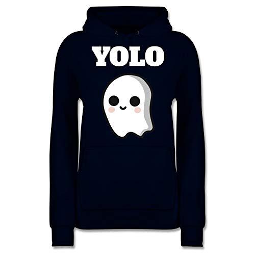 Shirtracer Halloween - Geist YOLO Motiv - XL - Navy Blau - JH001F - Damen Hoodie