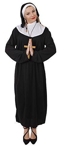 Costume da suora unisex, con copricapo, cintura e croce dorata, vestitoreligioso elegante, taglie disponibili: S-XXL